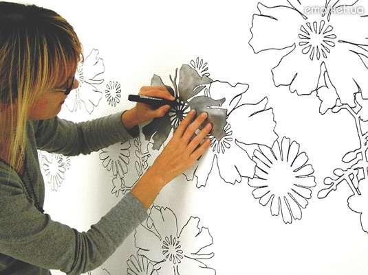 Дизайн стены рисунками
