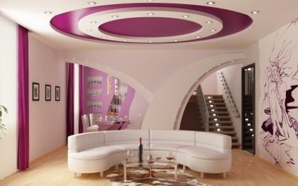 дизайн с помощью многоуровневого натяжного потолка