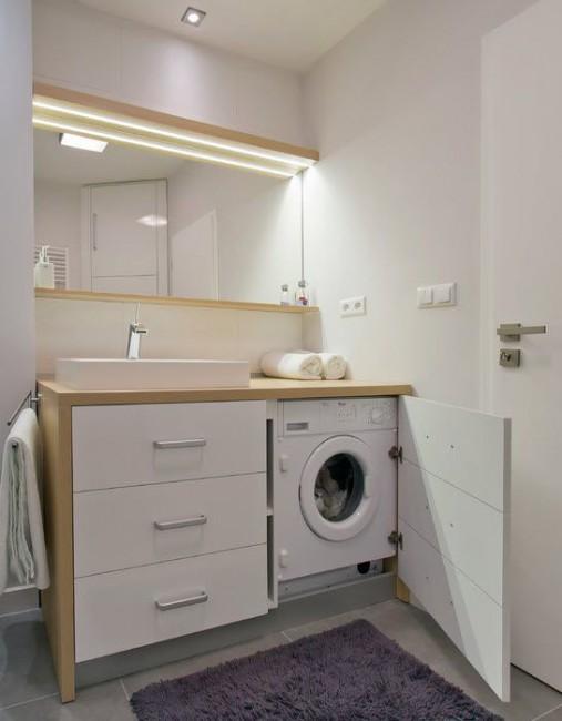 Как разместить стиральную машинку в маленькой ванной