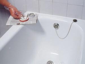 Enameling of baths