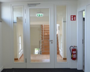 Fire doors with glazing
