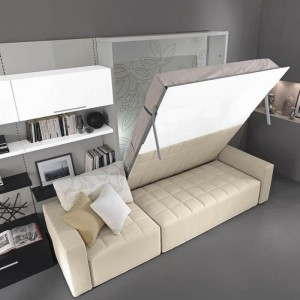 Folding bed with built-in lifting sofa