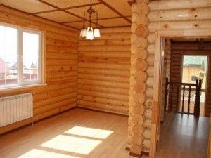 Interior of a wooden house