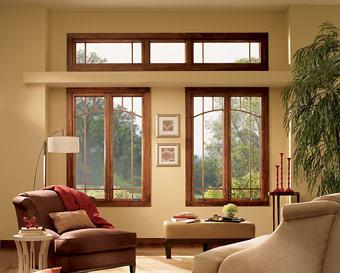 деревянные окна из красного дерева