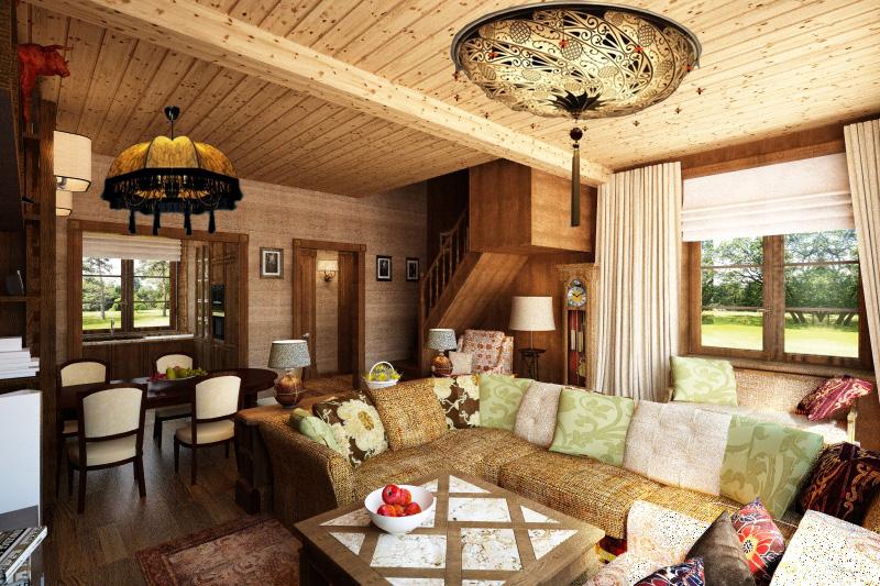 Интерьер в стиле прованс в деревянном доме фото
