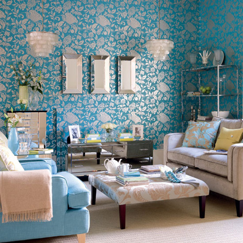 - Turquoise wallpaper for walls ...