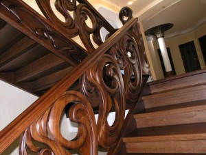 Wooden stairs from oak