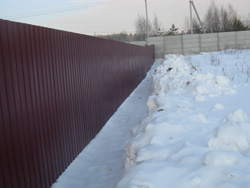 fence of corrugated winter