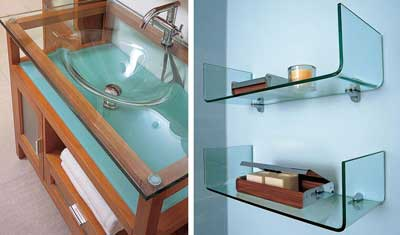 glass furniture in the bathroom
