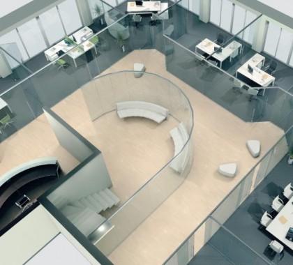 Оригинальное зонирование офиса при помощи стеклянных перегородок