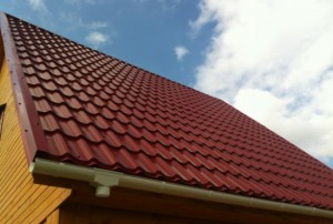 metal tiles laid on the roof
