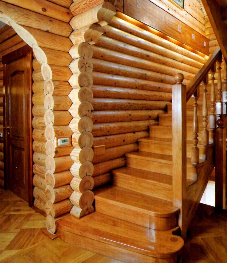 Лестница своими руками из бревна